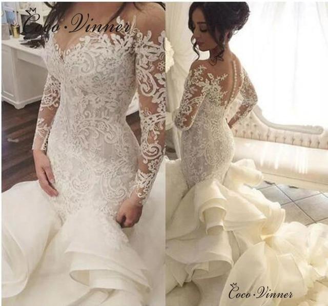 African Ruched Ruffles Mermaid Wedding Dresses 2019 New