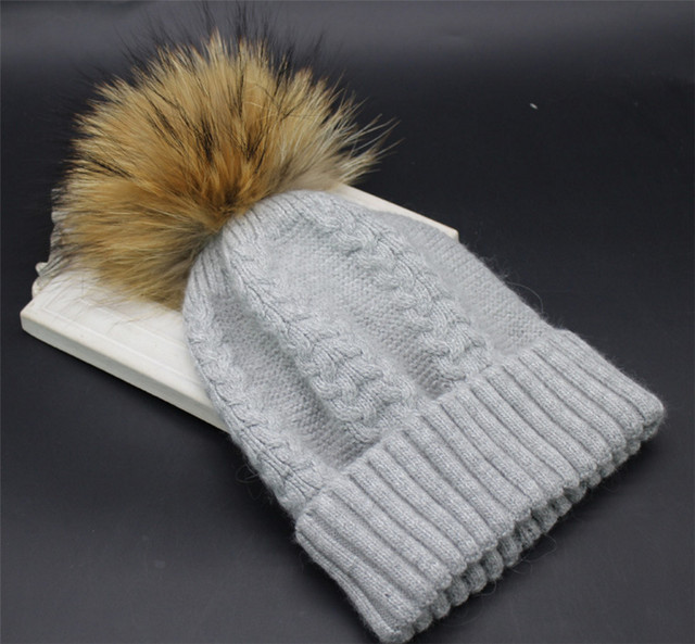 [Ode To Joy]Real Fur Pompon Women wool Hat Winter warm soft Skullies&Beanies Thicken Female high quality hats