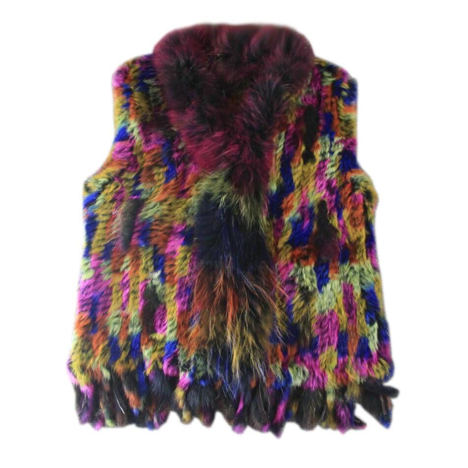 Harppihop * gilet en fourrure de lapin véritable naturel avec col en fourrure de raton laveur gilet/vestes multicolore lapin tricoté hiver pour les femmes