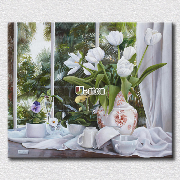 Fair white rose in the glass painting picture flowers canvas prints modern home decoration wall arts