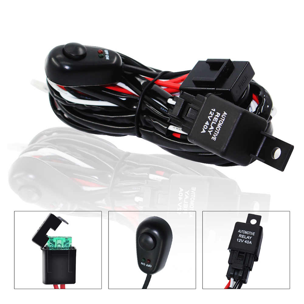 hight resolution of  car led light bar wire wiring harness switch relay kit for connect 2 led work driving