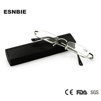2013 Stainless Half Rim Reading Glasses With Hand Made Cases Hot Sale 1 00 1 50