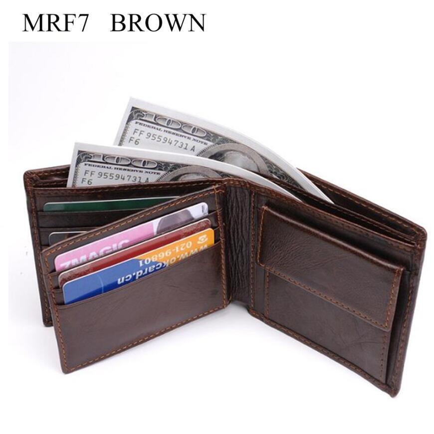 Новинка, мужской кошелек из натуральной кожи, брендовые кошельки для мужчин, черный, коричневый, двойной кошелек, RFID Блокировка, кошельки с подарочной коробкой MRF7 - Цвет: brown