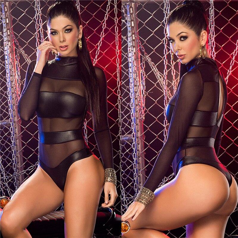 Women Sexy Erotic Lingerie Bodysuit Sexy Porno Faux Leather Bodysuit Thong Transparent Mesh Long Sleeve Bodysuit Latex Leotard