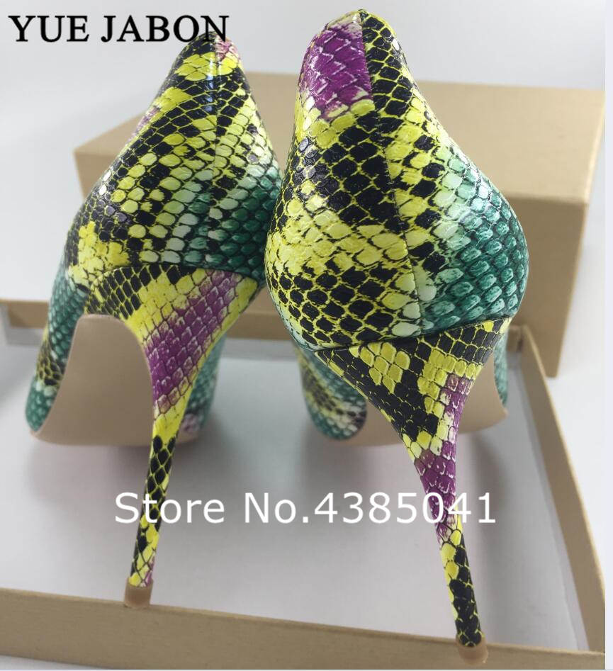 YUE JABON 2019 NEW ARRIVE Women Shoes Green Snake Printed Sexy Stilettos High Heels 12cm 10cm