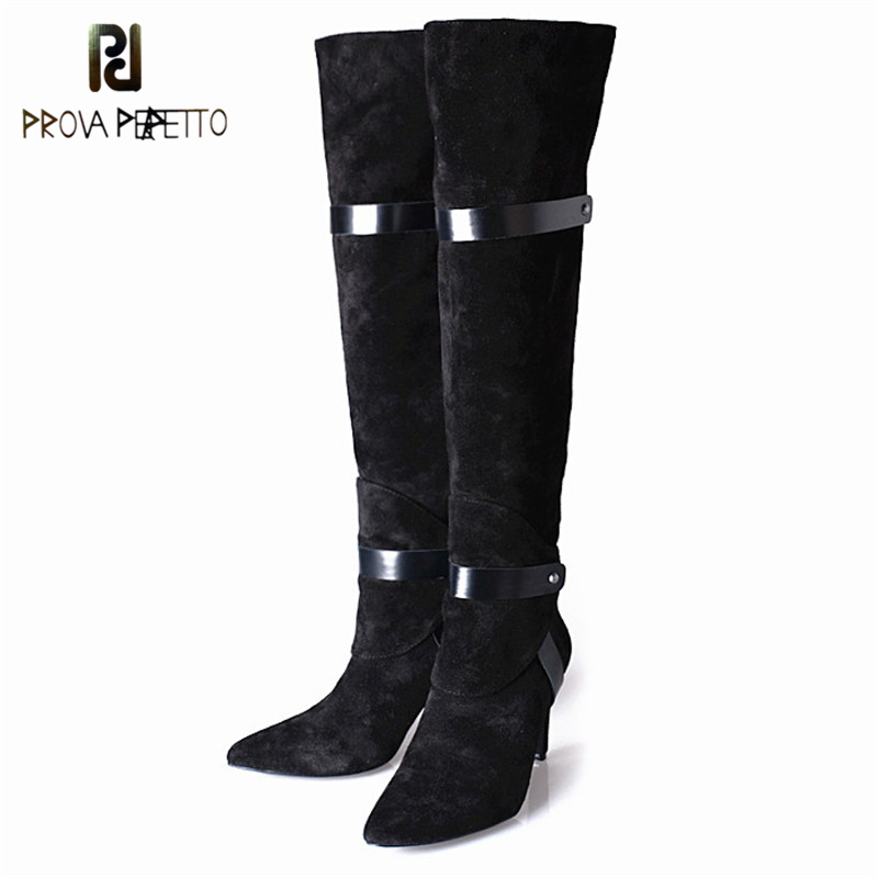 Prova Perfetto England Style Concise Design Cow Suede Leather Light Strap Woman Boots Elegant Pointed Toe
