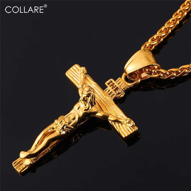 Collare INRI Crucifixo Cruz Colar De Ouro/Rosa de Ouro/Preto Cor Arma 316L Corrente De Aço Inoxidável Para Homens Jóias peça Jesus P166