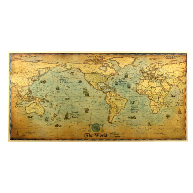 Vintage retro paper earth world map poster wall chart education vintage retro paper earth world map poster wall chart education poster sticker for kids gumiabroncs Image collections