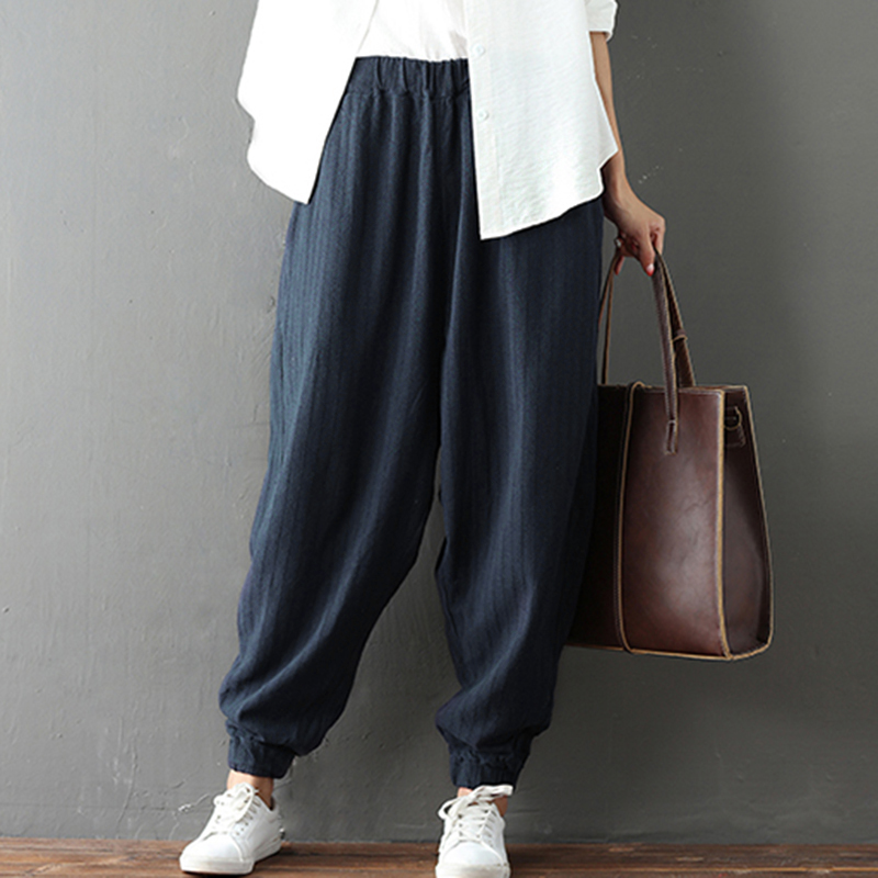 Women Vintage Loose Solid Pants Spring Autumn Elastic Waist Casual Harem Pants Trousers Women Cross-Pants