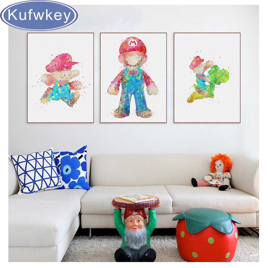 Game with watercolor - 3pcs Abstract Watercolor Super Mario Game Diy Full Square 5d Diamond Painting Cross Stitch