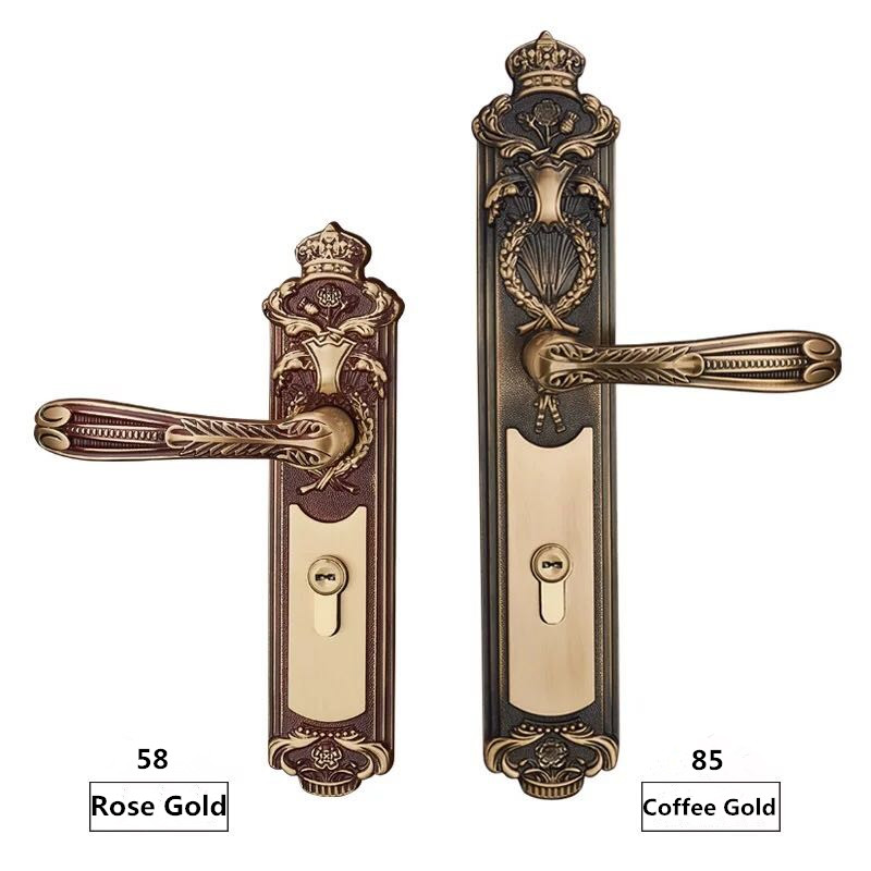 FULL BRASS MATERIAL EURO GOLD COLOR DOOR HANDLE LOCK WITH 70MM LXL CYLINDER 35 55mm door thickness door handle brass lock with 70mm key lock page 4