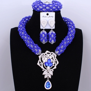 Image 5 - Bright Dubai Jewelry Sets Blue African Costume Jewelry Sets Indian Beads Necklace Set Christmas Boutonniere Bridal Party Gift