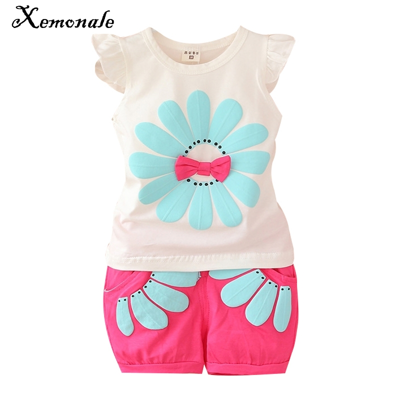 Xemonale Infant clothes toddler children summer baby girls clothing sets flower 2pcs clothes girls summer set sport suit set