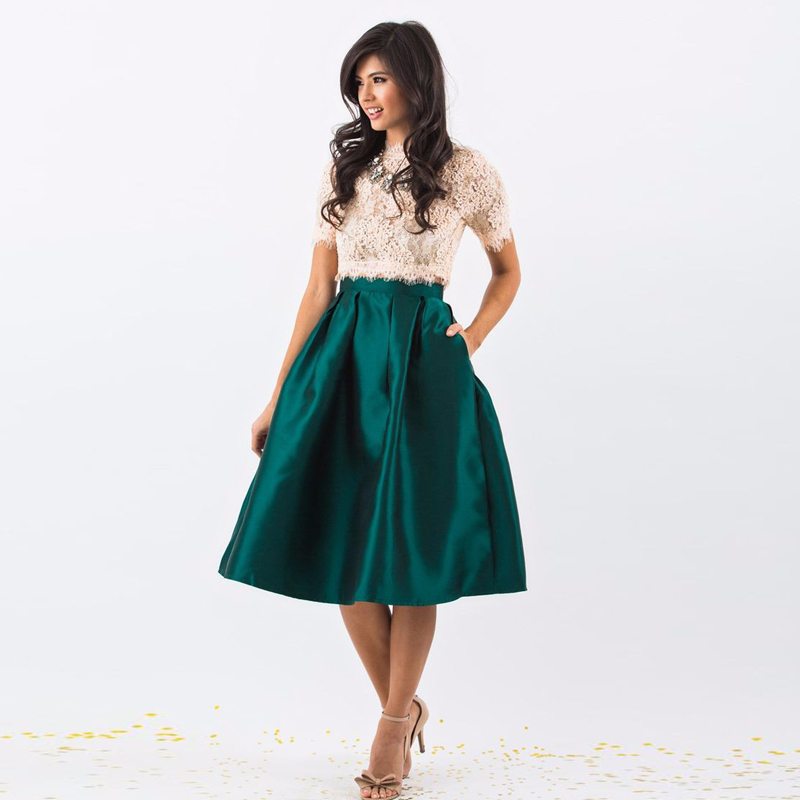 on wholesale deft design suitable for men/women US $31.19 8% OFF|Best Quality Emerald Green Satin Skirt High Waist Knee  Length Pleated Midi Skirt for Women to Office Formal Prom Skirt Custom-in  ...