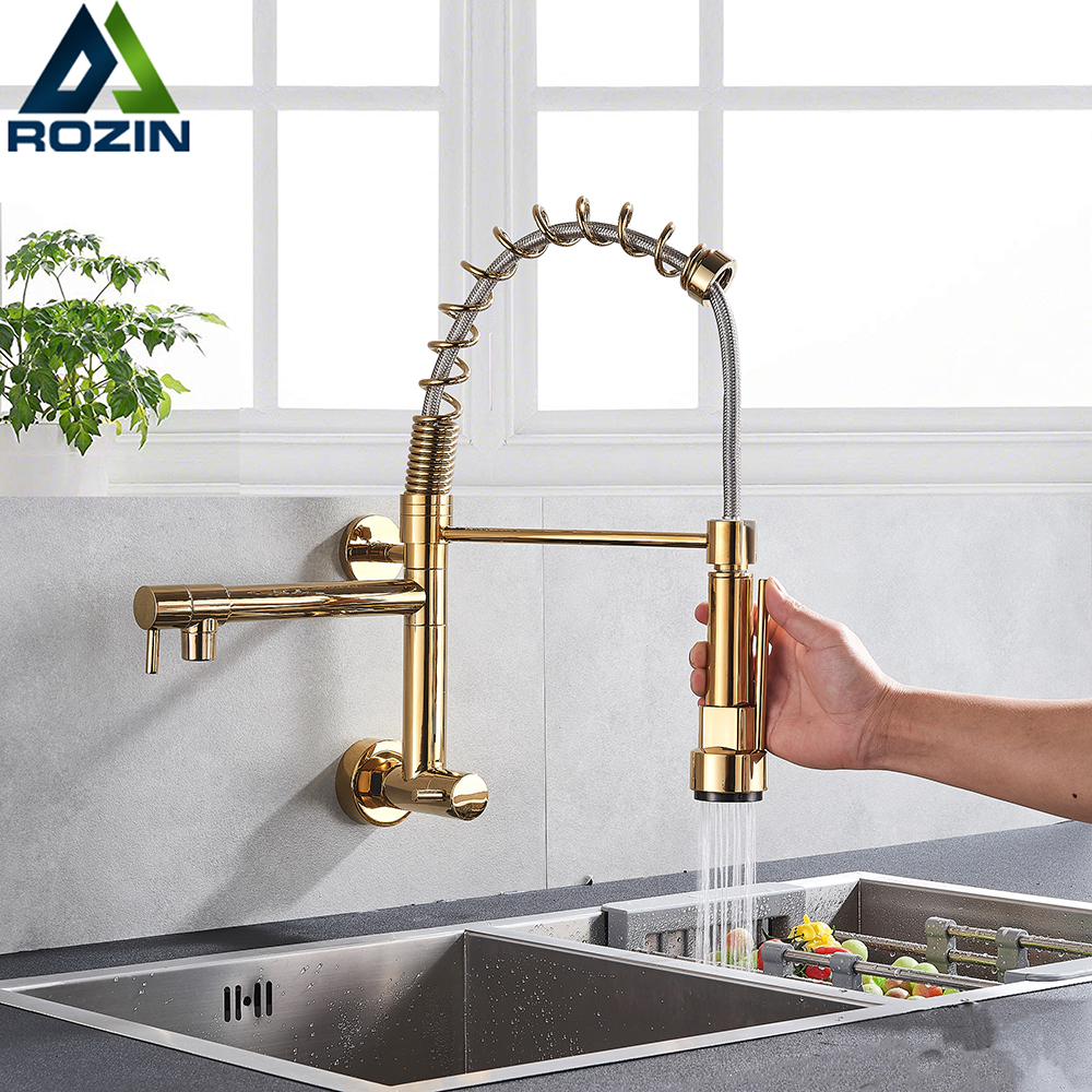 Golden Spring Kitchen Faucet Swivel Side Sprayer Dual Spout Kitchen Tap Kitchen Sink Cold Water Faucet