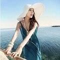 2015 Лето женская Складная Широкий Большой Брим Beach Sun Hat соломы Пляж Cap Для Дам Элегантные Шляпы Девушки Отпуск Тур шляпа