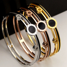 Gold color stainless steel black round bangle bracelet for women pulseiras, double layer roman numerals bracelet femme jewelry