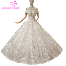 AOLANES Blings Necklace Kaftan Ball Gown Wedding Dress