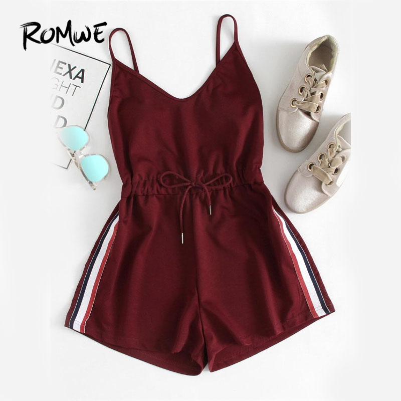 ROMWE Contrast Striped Tape   Romper   Summer Beach Wear Women Sleeveless Playsuits Burgundy Spaghetti Strap Drawstring   Romper