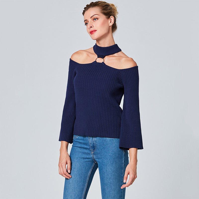 Women Halter Sweater Fashion Elegant Royal Blue Long Sleeve Pullover Metal Ring Design Off the Shoulder Sexy Knitted Sweater