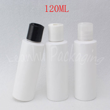 120ML White Plastic Bottle Disc Top Cap , 120CC Lotion / Shower Gel Packaging Bottle , Empty Cosmetic Container ( 50 PC/Lot )