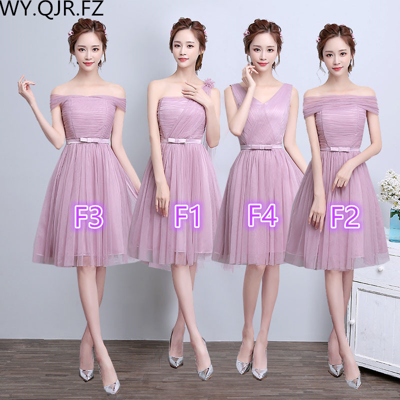 ZX-F1234#The new spring summer 2017 various styles Off collar short bride wedding bridesmaid dresses wholesale little pink dress