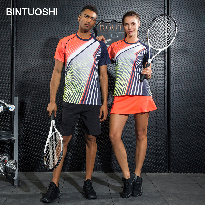 BINTUOSHI 2018 חדש נשים טניס חולצה קצר סט גברים בדמינטון טניס שולחן חולצה + מכנסיים לנשימה מהיר יבש ספורט בגדים