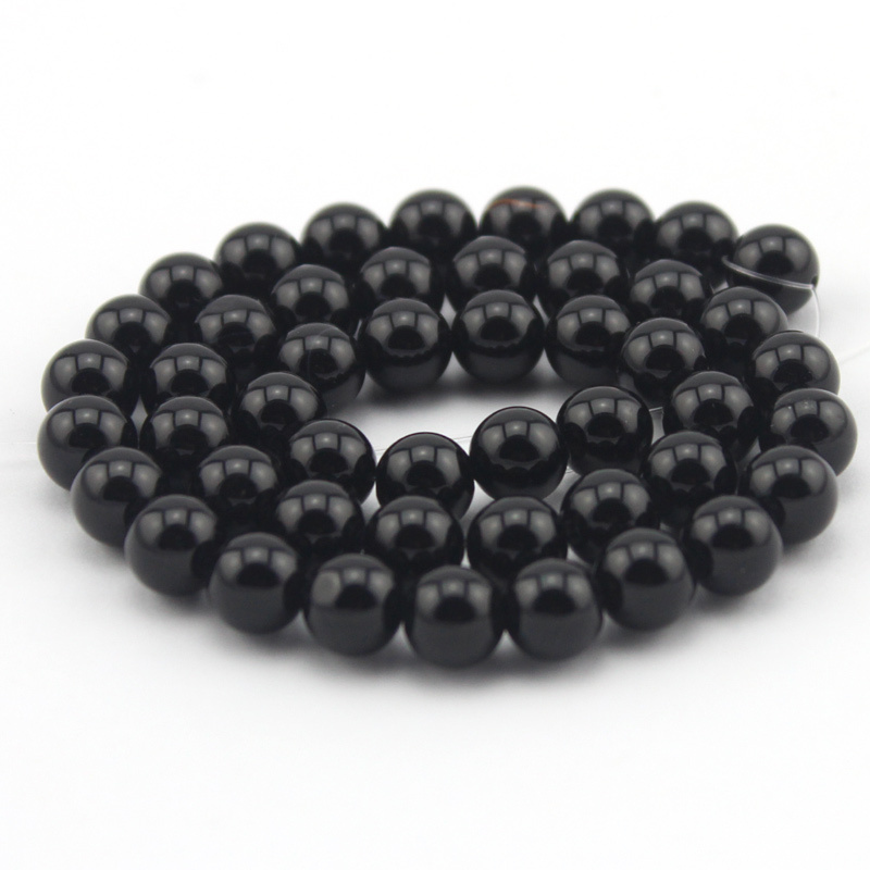 Free Shipping Select By Size 4 6 8 10 12mm,Natural Stone Black Onyx Beads For Jewelry Making Strand 15
