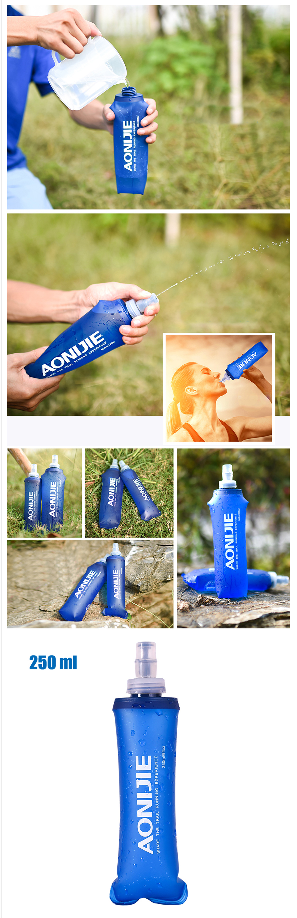 Aonijie Sd09 10 250ml 500ml Sports Bpa Free Collapsible Foldable Soft Flask Sd15 01 02 03 04 05