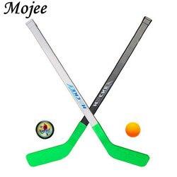 2 pces bolas de hóquei no gelo e 2 pces varas de hóquei no gelo equipamento criança de inverno vara de hóquei no gelo crianças esportes brinquedo se encaixa por 1-8years