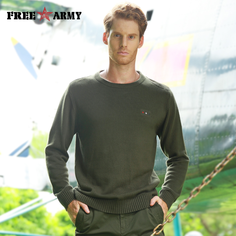 FREE ARMY Brand Spring New O-Neck Sweaters Men Military Fashion Casual Loose Outerwear Knitted Sweater Pullovers Army Green
