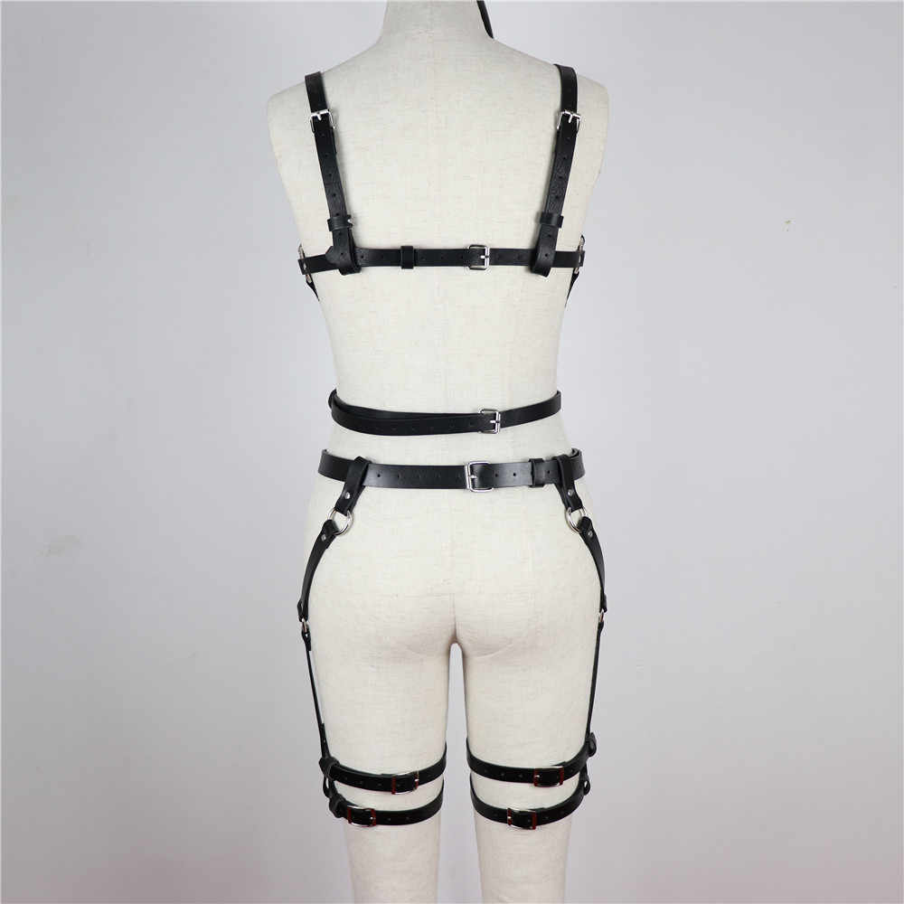 CEA. สายรัดหนังสายรัดชุดชั้นใน 2 ชิ้นชุด Garter เข็มขัดเซ็กซี่ผู้หญิงเอวขา Bondage กรงสายรัด Bra Garter BODY เข็มขัด