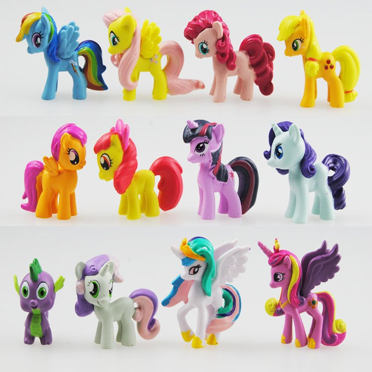 12Pcs/Lot Cute Little Horse Rainbow Dash Pinkie Pie Toys Figures Children Gift Cartoon Children Action Figure Vinyl Doll Toys 48pcs lot action figures toy stikeez sucker kids silicon toys minifigures capsule children gift