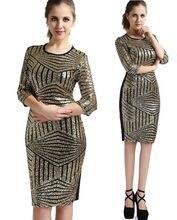Frauen frau 3/4 ärmeln elegante sexy pailletten nachtclub tragen partei abend bodycon enges kleid kleider kleidung