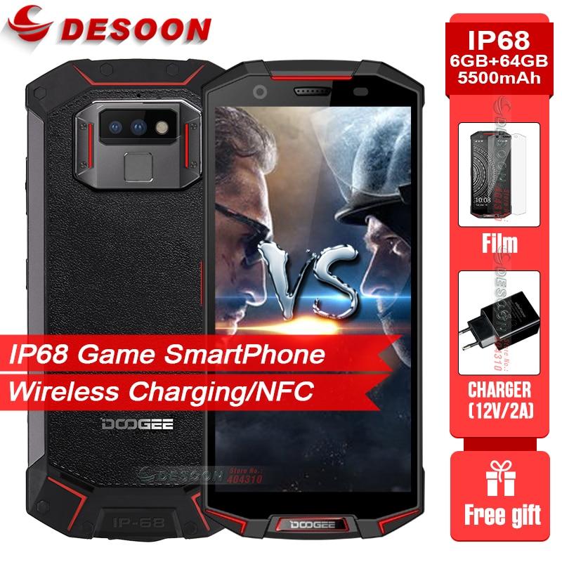 IP68/IP69K étanche DOOGEE S70 jeu SmartPhone 6 GB 64 GB Charge sans fil NFC 5500 mAh 12V2A Charge rapide 5.99 FHD Helio P23