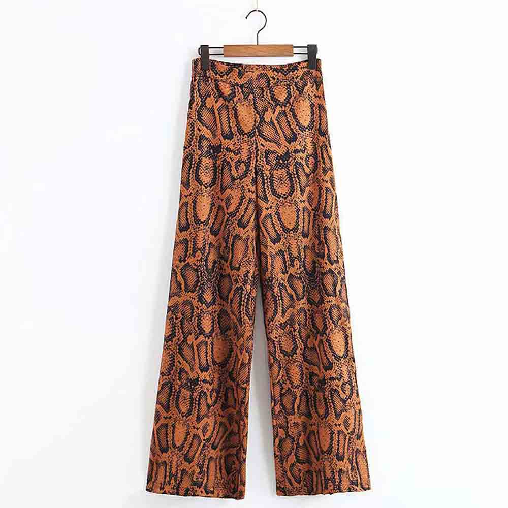 FIRSTTO Vintage Snake Pattern Tribal African   Wide     Leg     Pants   High Waist Full Length Trousers Pockets Fashion Hippie Loose   Pants
