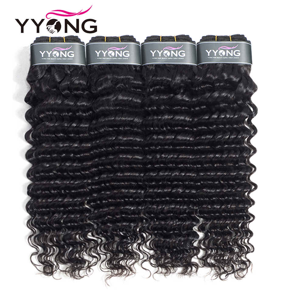 Yyong Peruvian Hair Bundles Deep Wave 4 Bundles Deal 100 Human Hair Weave Bundles Deep Wave