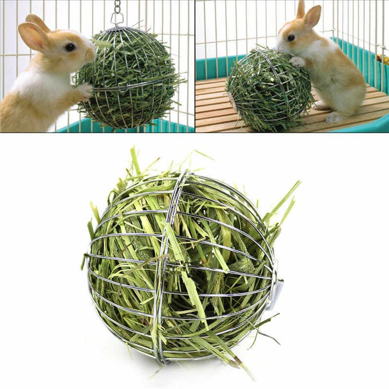 Small Pets Grass Feeding Ball Stainless Steel Electroplated Round Grass Collecting Ball For Feeding Chinchilla Rabbit Guinea Pig