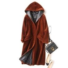 Luxury Lady Real Wool Blend Fur Coat Jacket With Hoody Autumn Winter Genuine Women Fur X-Long Outerwear Coats Plus Size LF4114