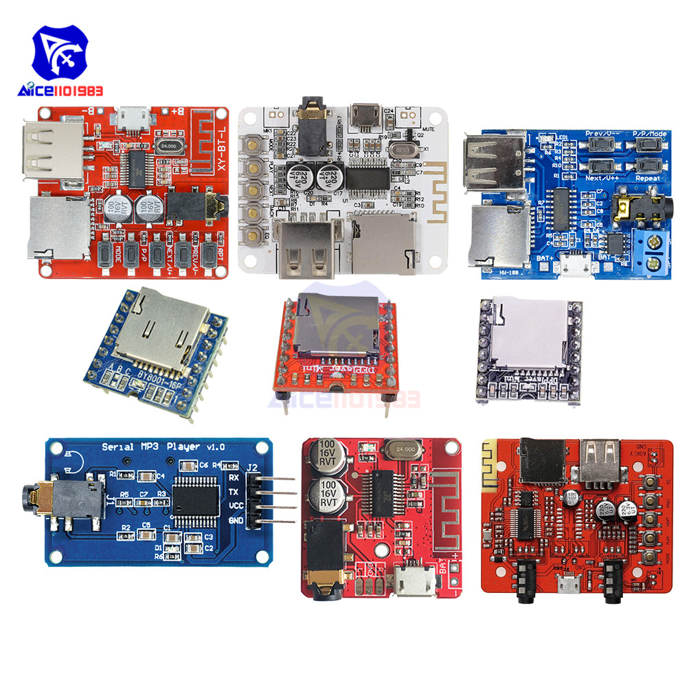 MP3 Player Decoder Bluetooth Stereo Audio Amplifier Receiver Module 3.5mm Audio Jack/USB A/Micro USB/TF Card Interface 3.7-5V