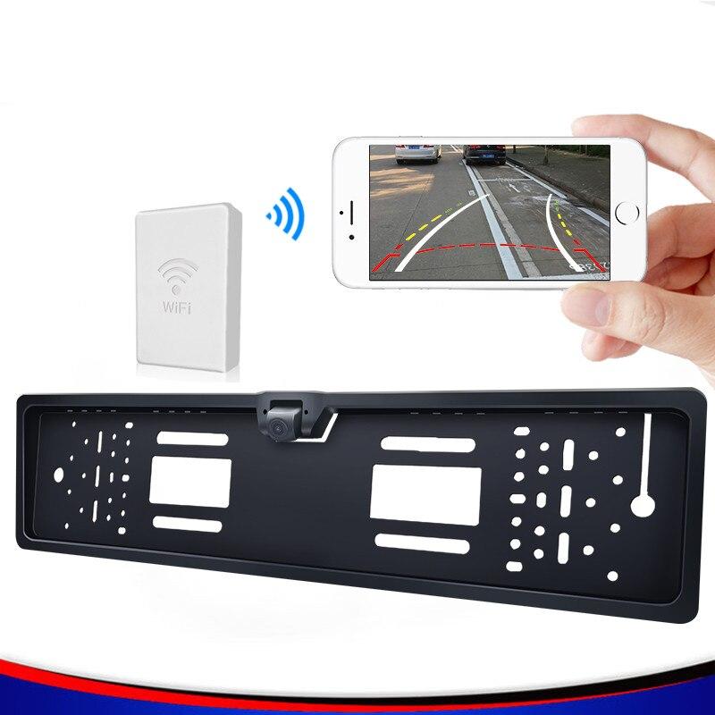 Système d'aide à la restitution de la caméra arrière de stationnement wifi de plaque d'immatriculation européenne w170 degrés grand angle + support de plaque HD