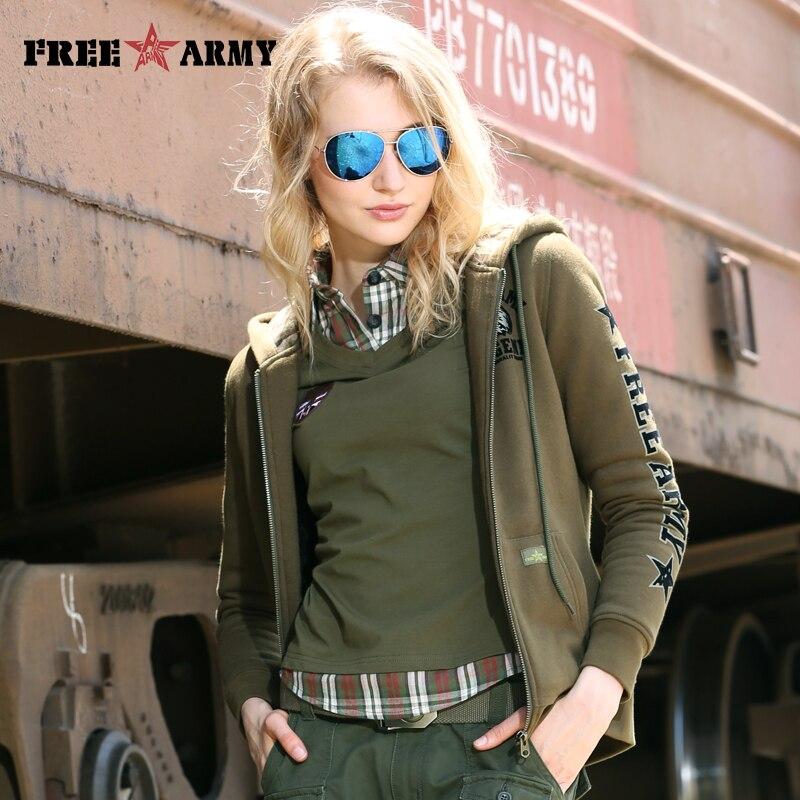 Зимняя Толстая флисовая куртка с капюшоном, Женская толстовка с капюшоном, однотонная камуфляжная куртка на молнии в армейском стиле, куртка в стиле милитари|Куртки|   | АлиЭкспресс