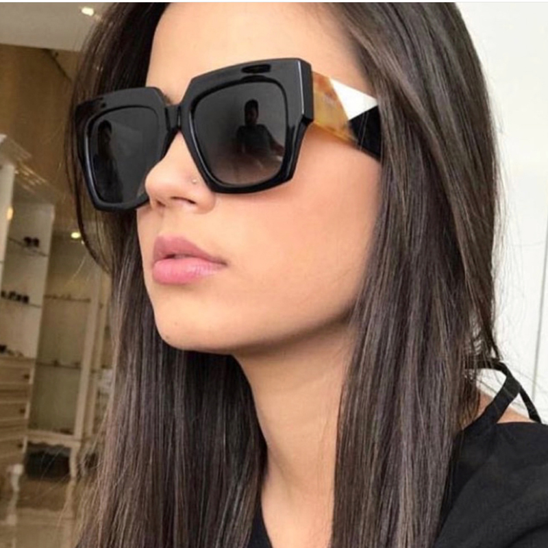 Luxury Brand Black Leopard Big Frame Sun Glass Vintage Square Sunglasses