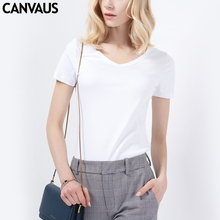 CANVAUS New Cotton White Black Slim Casual OL V neck Short Sleeve Summer T shirt For