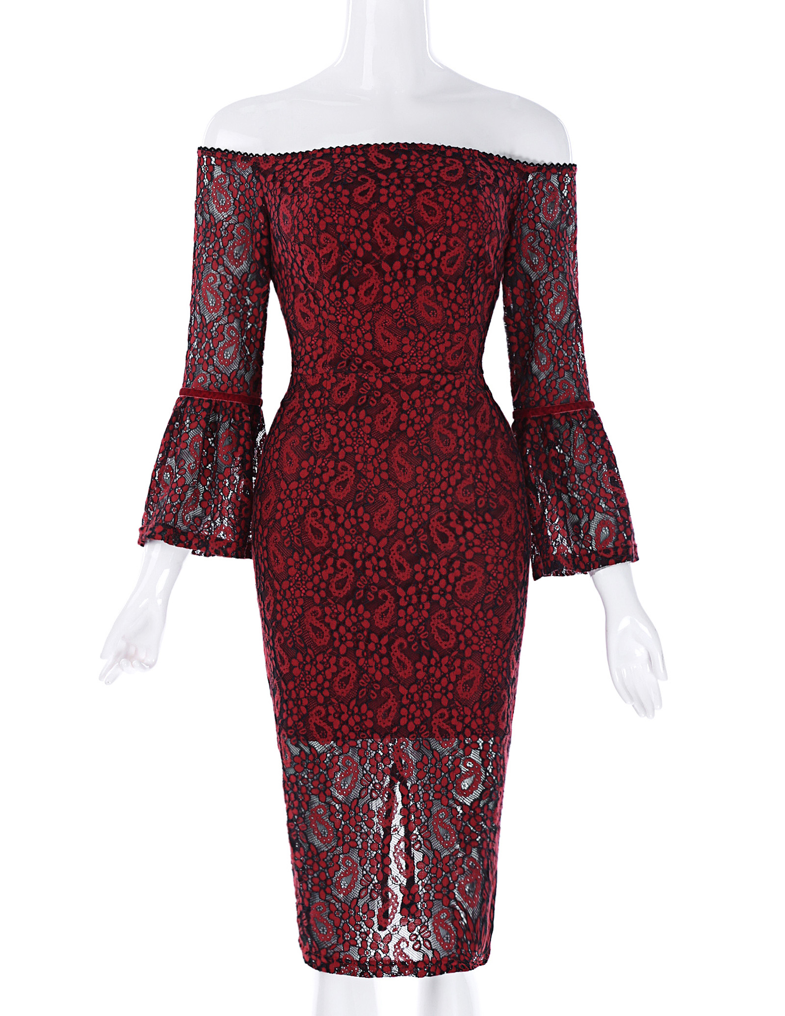 Lantern Sleeve Lace Cocktail Dress 2018 Elegant Re...