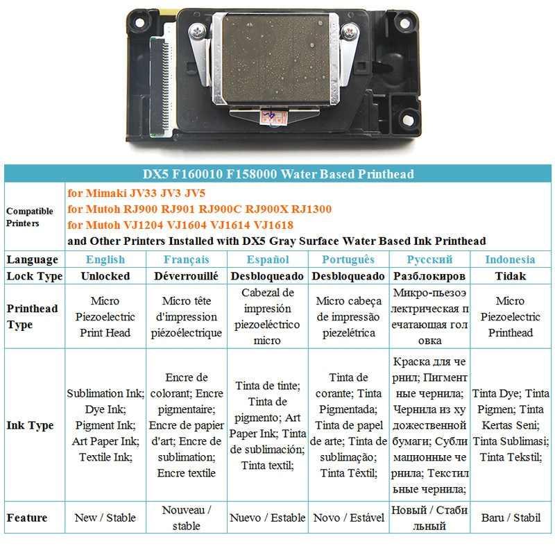 F160010 F158000 Dx5 Printhead For Mutoh Rj900 Rj900C Rj900X Rj1300 Vj1604  Vj1614 Vj1618 Vj1204 Mimaki Jv33 Jv3 Jv5 Printer Hea