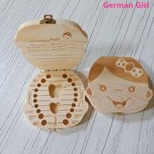 Ящик для хранения зубов португальский немецкий английский испанский французский итальянский текст для маленьких мальчиков и девочек деревянный ящик для сбора молочных зубов
