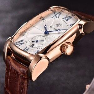 Image 4 - BENYAR zegarki mężczyźni luksusowa marka kwarcowy mężczyzna Wist zegarki skórzany wojskowy pasek Casual kwadratowy zegarek wodoodporny Reloj De Hombre