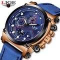 Reloje 2018 LIGE мужские часы, мужские кожаные автоматические кварцевые часы с датой, мужские роскошные брендовые водонепроницаемые спортивные ча...