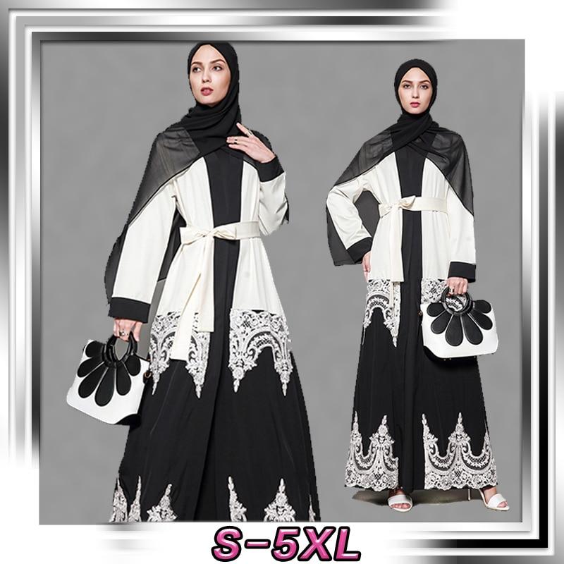 Hui musulman noir et blanc manteau robe grande taille vêtements islamiques saoudien moyen-orient offre spéciale 1566